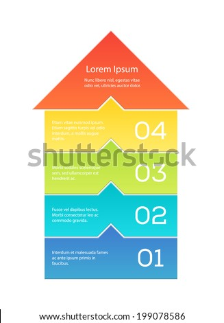 Cool template for a step by step concept illustration. Big arrow separated into blocks, each of them has a numbered copyspace. EPS10 vector image. - stock vector