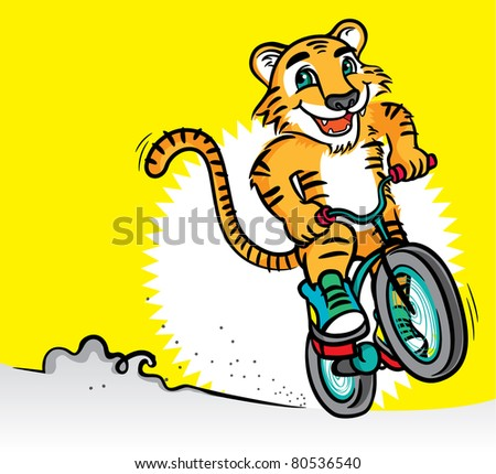 Cool Tiger Mascot Riding a Bicycle - stock vector