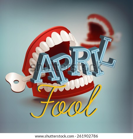 Cool vector april fool's day concept design with chattering teeth practical joke item - stock vector