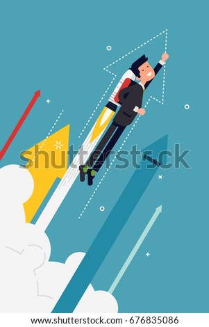 Cool vector banner template on businessman flying off with jet pack. Great start, career boost or fast business growth metaphorical illustration with male office worker and abstract arrows