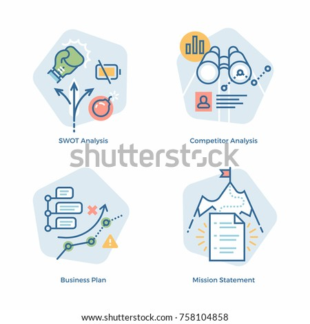 Cool Vector Business Plan Themed Design Elements In Light Minimalistic  Color Scheme. SWOT Analysis,