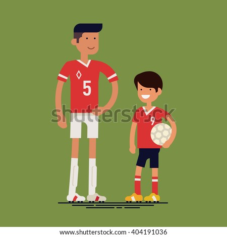 Cool vector characters on adult professional soccer football player and little boy kid fan. Sport career in family. Father and son ready to play soccer. Flat design illustration - stock vector