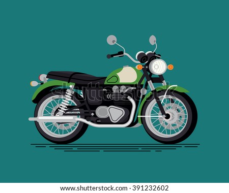 Cool vector classic design street cruiser motorcycle in trendy flat design, isolated. Classic retro bike motor two wheeled vehicle - stock vector