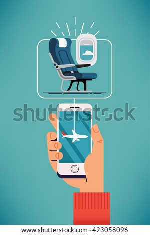 Cool vector concept design on choosing airplane cabin seat using mobile device or web application featuring cabin seat, mobile device in hand with airplane on screen - stock vector