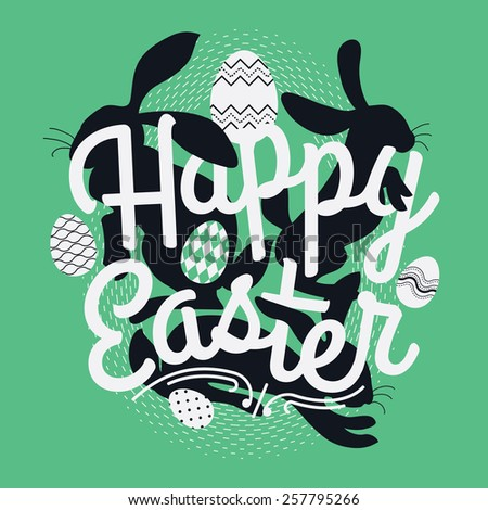 Cool vector concept design on Happy Easter with bunny rabbit silhouettes and decorative eggs. Ideal for web, greeting cards, prints and invitations - stock vector
