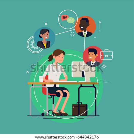 Cool vector concept layout on business conference call. Online meeting or discussion using web applications. Woman chatting with colleagues using computer