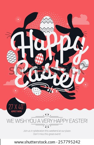 Cool vector concept printable poster or banner design on Happy Easter with sample text | Print template on Easter with creative lettering, bunny rabbit silhouettes and decorative ornamental eggs - stock vector