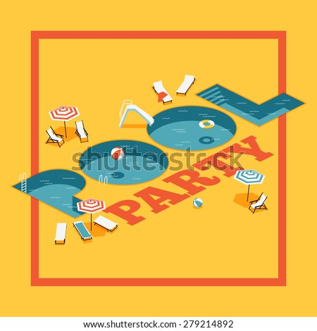 Cool vector creative concept design on summer relaxation pool party with beautiful isometric letter shaped swimming pools - stock vector