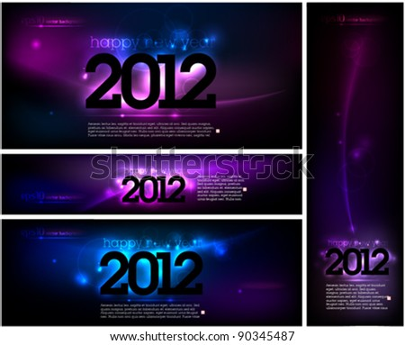 Cool vector design layout set for New Year cards - stock vector