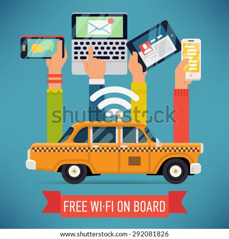 Cool vector detailed creative concept design on city taxi cab with wi-fi access. Internet on mass transit and transport - stock vector