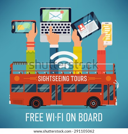 Cool vector detailed creative concept design on sightseeing touristic open top bus with wi-fi access. Internet in mass transit and transport - stock vector