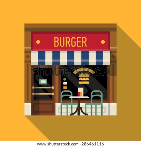 Cool vector detailed flat design burger restaurant facade background. Ideal for restaurant business web publications and graphic design  - stock vector