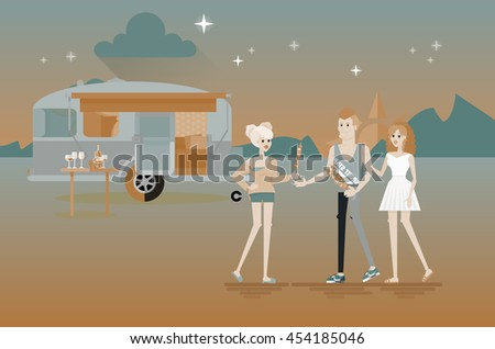 Cool vector flat character design of young people travelers with trailer car. Student tourists friends and couple ready to their road trip. Woman and man eating barbecue shashlik - stock vector