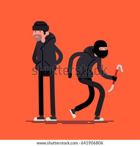 Cool vector flat character design on burglar. Criminal, thief or robber standing and crouching with balaclava mask and crowbar. Sneaking and standing unfriendly outlaw male person