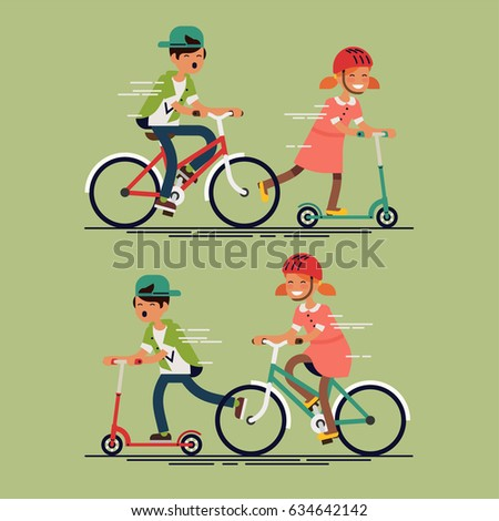 Cool vector flat character design on kids riding kick scooters and bicycles. Summer break, boy and girl having free time playing. Kids having fun outside