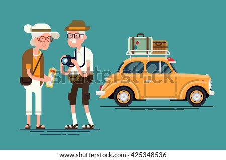 Cool vector flat character design on senior age travelers with vintage old car with luggage on top. Retired tourists couple ready to their road trip. Grandparents having summer holidays trip - stock vector