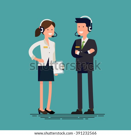 Cool vector flat design technical support team characters. Tech support specialists friendly smiling. Man and woman in headset with clipboard. Troubleshooting department in business and industry - stock vector