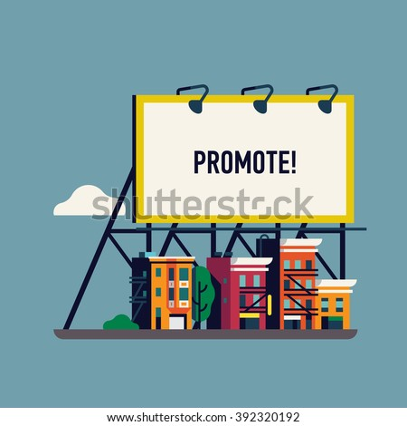 Cool vector flat giant advertisement billboard over small town. Large promotional banner with city street townhouses. Website banner template with urban landscape. City ad background for your business - stock vector