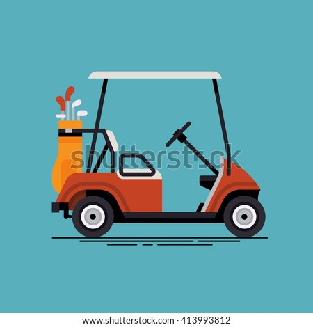 cool vector golf car with golf club bag country club golf course resort transport