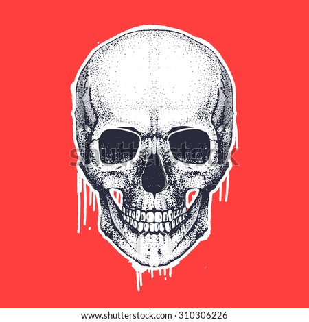 Cool vector hand draw skull illustration with paint stains and texture