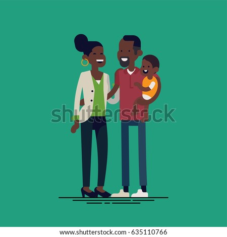 Cool vector illustration on happy african family. Cheerful african family holding each other. African american parents holding baby. Mother, father and child together, modern flat design