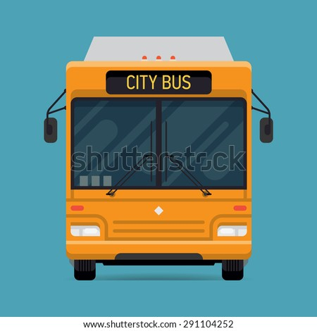 Cool vector modern flat design public transport vehicle city transit shorter distance bus, front view, isolated - stock vector