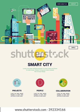 Cool vector one page website landing template on Smart City and urban development. Urban development vision to integrate communication and information technology. Urban information and data system - stock vector