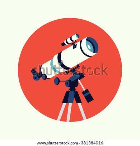 Cool vector optical telescope round circle icon. Science astronomy instrument for night sky observation  - stock vector