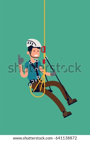 Cool vector rope access technician male character isolated. Fully equipped Industrial alpinist at work, isolated, flat design