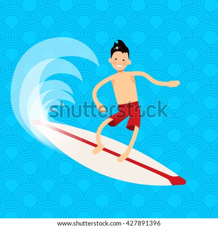 Cool vector surfer character in surf trunks with surfboard standing and riding on ocean wave. Recreational beach water sport flat design character on surfing.