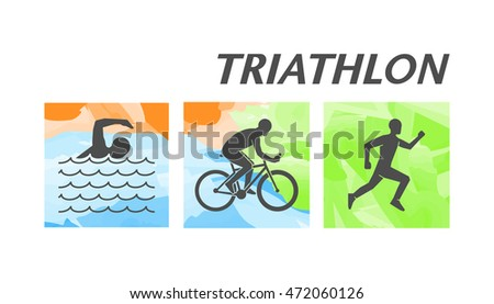 Cool vector symbol for triathlon. Black figure triathlete. Stylish logo for triathlon on white background.
