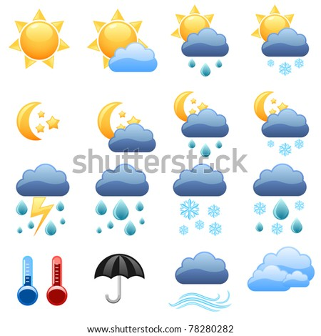 Cool weather vector icons foe web site. - stock vector