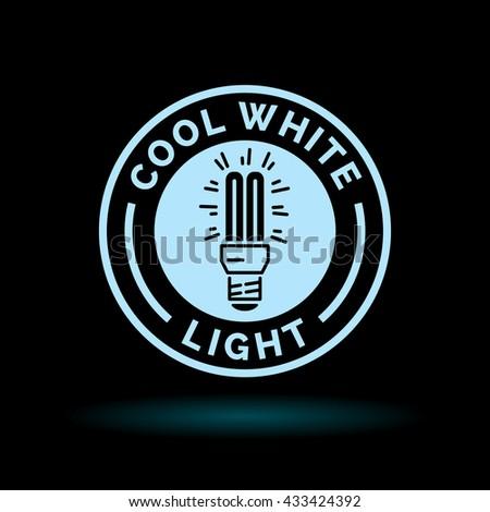 Cool white fluorescent CFL light bulb icon. Blue sign on black background. Vector illustration. - stock vector