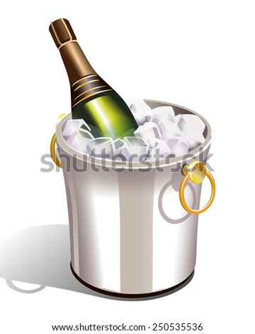 cooler with ice and a bottle of champagne