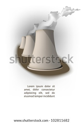 cooling towers  of  power plant - stock vector