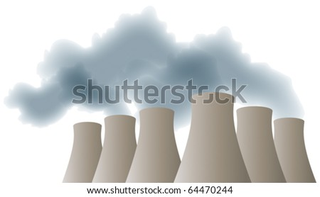 Cooling towers with smoke, steam - stock vector