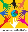Cooperate Hand help the World - stock photo