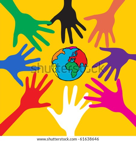 Cooperate Hand help the World - stock vector