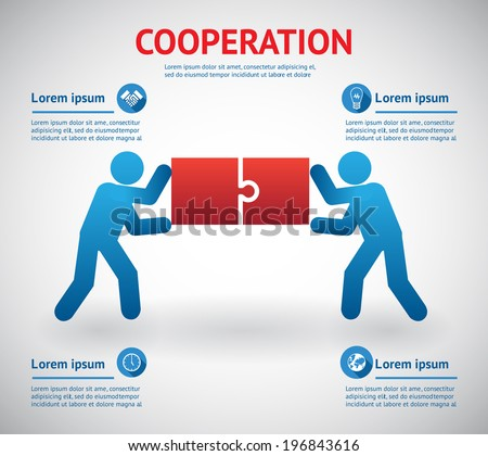 Cooperation and teamwork template with two men fitting together pieces of a jigsaw puzzle conceptual of solutions and problem solving with four text areas with infographic icons  vector illustration - stock vector