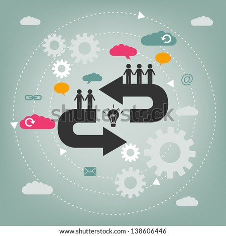 cooperation concept - teamwork - stock vector