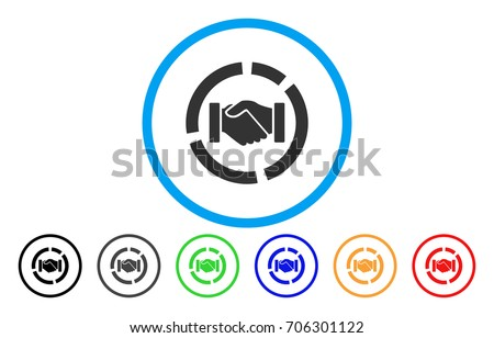 Cooperation Handshake Diagram Vector Rounded Icon Stock Vector