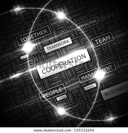COOPERATION. Word cloud concept illustration. - stock vector