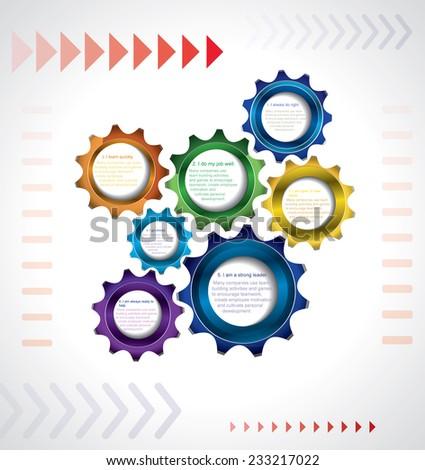 Coordinated work of mechanism - stock vector