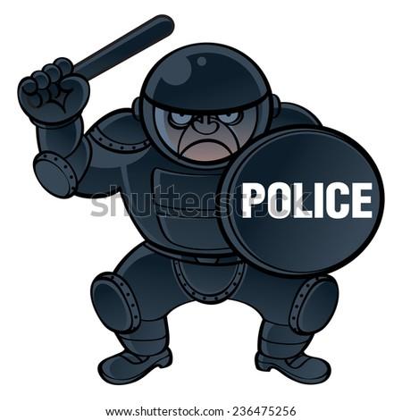 Cop in protective equipment helmet, shield and nightstick - stock vector