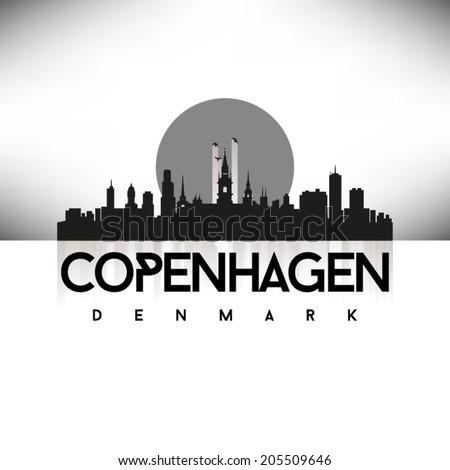 Copenhagen Denmark Black Skyline Silhouette vector illustration, Typographic design. - stock vector