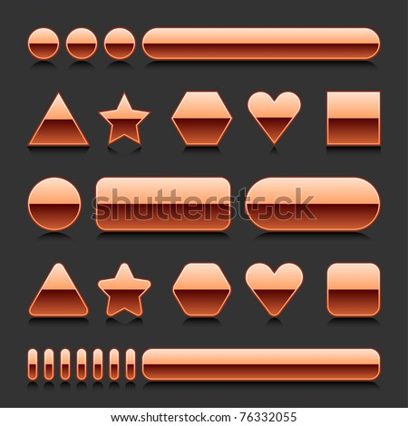 Copper blank web 2.0 geometric shape button metal various form with black reflection on gray background - stock vector
