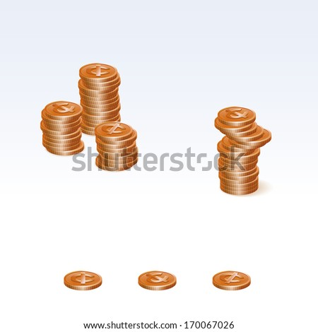 Copper Cent Coin Stacks Vector Icons - stock vector