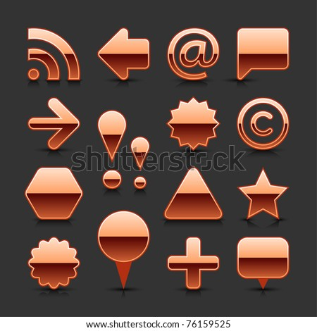 Copper metal blank web button set with black reflection and shadow on gray background - stock vector