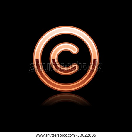 Copper metal glossy copyright web button with reflection on black - stock vector