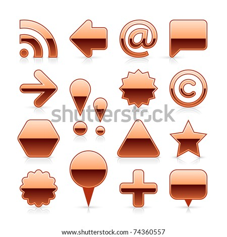 Copper metal web button set with shadow and reflection on white background - stock vector